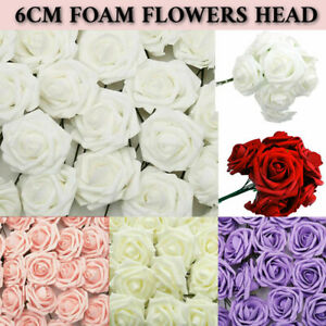 50-100 PACK Large 6CM Artificial Flowers Foam Rose Heads Wedding Party Decor UK