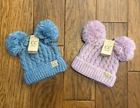 CC Kids Childrens Beanie Double Pom Pom Ear Cable Knit Cuffed Soft Hat ~ NEW