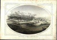 Cantonment Stevens Native Americans 1860 Western U.S. color lithograph print