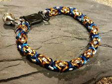 Silver blue and orange byzantine Chainmaille cat Collar