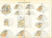 c. 1890 MAP PROJECTIONS Antique Map