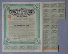GERMANY City of Dresden Sterling Loan 1927, 100£, with 21 coupons UNCANCELLED!
