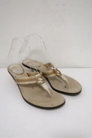 Gucci GG Web Thong Sandals Cream Leather Size 8 Kitten Heel Slides