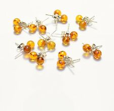 Lot wholesale Baltic Amber cognac stud round earring 6 mm/ 0.24 inch TA-1812