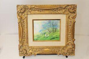 Original Max Karp Enamel Painting Girls Playing Green Fields Gilded Wood Frame