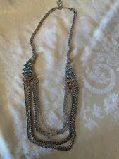 GUESS Multiple Chain Statement Necklace With Clear & Aqua Rhinestones.