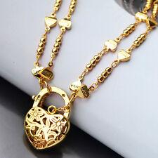 9K Yellow Gold Filled Bracelet Double Heart-Shape Chain With Heart Locket