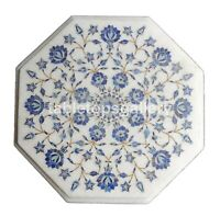"""12"""" White Marble Small Coffee Table Top Lapis Floral Inlay Kitchen Decorate W263"""