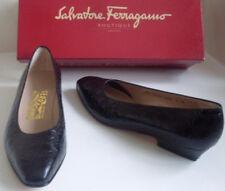 SALVATORE FERRAGAMO Black Leather Ballet Court Shoes US 6 B UK 3.5 EU 36.5 MINT