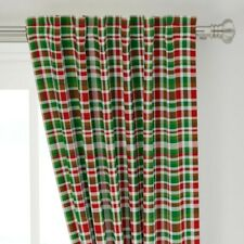 """Christmas Plaid Christmas Pattern Red White 50"""" Wide Curtain Panel by Roostery"""