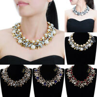 Fashion Women Pearl Glass Crystal Choker Chunky Statement Necklace Chain Jewelry