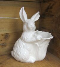 "RAZ Imports 8"" Porcelain Rabbit w/ Cabbage Pot - EASTER, BUNNY, FLOWERS"