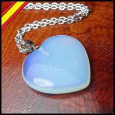 3a69d04ca7c9 Colgante Opalita Azul Corazon Collar Luna Mineral Cristal Regalo Piedra  Lunar
