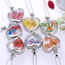 Purple Chain Glass Locket Dried Flower Heart Pendant Necklace