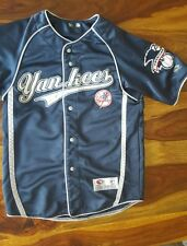 Vintage New York Yankees Button Up Jersey by True Fan navy blue (medium)