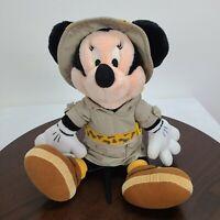 "Disney Parks Minnie Mouse Safari Plush 14"" Doll Stuffed Animal Toy"