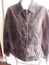 Jones New York Sport Sz Medium Lightweight Cotton Beaded Embroidered Jacket EUC