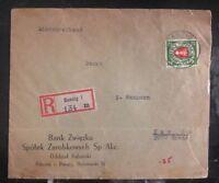 1939 Danzig Germany Zwiazku Bank Registered Cover To  New York USA