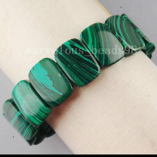 "Green Malachite Oblong Beads Stretch Bracelet 7"" G5924"