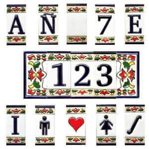 Ceramic tile letters - House ceramic numbers - Numbers and Letters in ceramic -