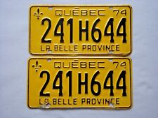 1974 QUEBEC Vintage License Plate PAIR # 241H644
