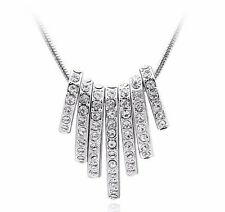 18K Gold GP SWAROVSKI Element Crystal Ring Cluster Pendant Necklace SIiver