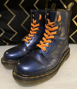 Doc Martens 1460 Boots 8 Eye Metallic Indigo Blue Made In England- size 4