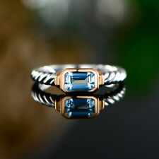 Sevil 18K 2T Gold Plated Created Blue Topaz Twisted Band Ring