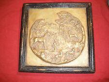 "19th c. St. Hubert cast bronze plaque, 8"" x 8"" framed, heavy, Jagermeister"