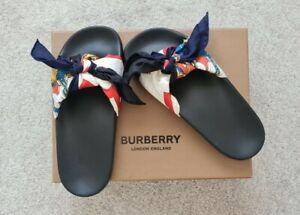 BRAND NEW - Burberry Scarf Print Silk Bow Sliders