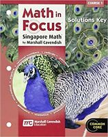 6th Grade 6 Math in Focus Solutions Key Manual Course 1