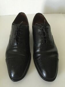 BROOKS BROTHERS black Leather Brogue Cap Toe Oxfords 8-1/2  England guc