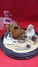 *Taxidermy Rat(s) Snake Charmer Glass Dome Display w/ FAUX Plastic cobra