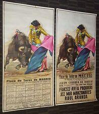 VINTAGE BULLFIGHT MATADOR POSTER 1973 PLAZA DE TOROS MADRID SPAIN  2pc SET