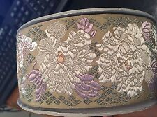 Vintage 3-in Wide Chrysanthemum Butterfly and Cherry Blossom Brocade Ribbon Roll