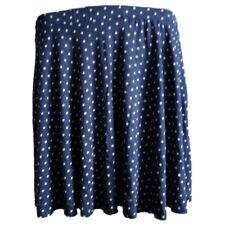 Asos Navy Blue & White Polka-Dot Skater Skirt Dot Dotted Stretch Elasticated NEW