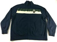 Lucky Brand Vintage Inspired Dublin Ireland Mens Blue L/S Zip Up jacket Size 2XL