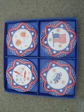 MWW Market 4th Of July Patriotic Ceramic Mini Plates~Set Of 4 In Box~NICE