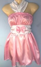 pink satin dress adult baby fancy dress sissy french maid cosplay chest 36-52.