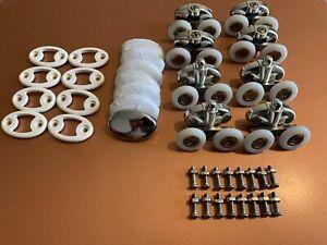 Replacement shower door wheel rollers 8 Pieces 4 Complete Sets 25mm Twin Wheel