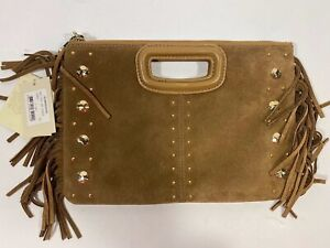 Maje Camel Brown Suede Studded Crossbody Purse CLUTCH Fringe MISSING STRAP NWT