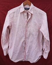 RALPH LAUREN small (10) pink & black STRIPED buttoned cotton Oxford SHIRT