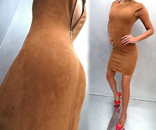 NEU 2017 ITALY Wildleder Optik Suede Look Stretch Damen P3 Dress Top Kleid Camel