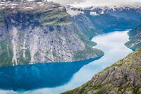 VLIES Fototapete-FJORD-(368V)-350x260cm-7 Bahnen 50x260-Norwegen Gebirge Steine
