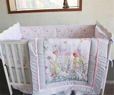Set Of 4Pcs Flower &Birds Baby Crib Cot Bedding Quilt Bumper Sheet Dust Ruffle @