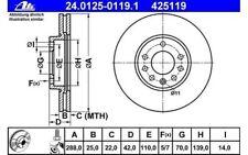 ATE Juego de 2 discos freno Antes 288mm ventilado para OPEL VECTRA
