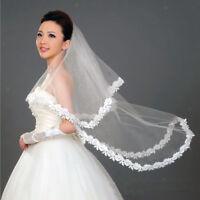 White Elegant Fingertip Length Wedding Bridal Veil With Floral Edge 1 Layer