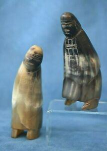 Old Hand Carved Horn Pair Of Northwest Coast Haida Tlingit Alaska Phalic Figures