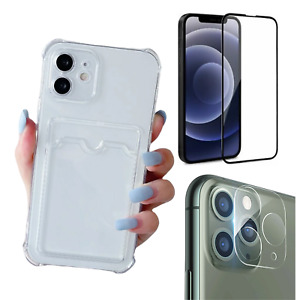 Case With Card Slot Holder For iPhone 13 Pro Max Mini Camera screen Protector 5D