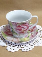 NEW Country Chic Tea Cup and Saucer, Pink & Lavender Peony Tea Cup & Saucer